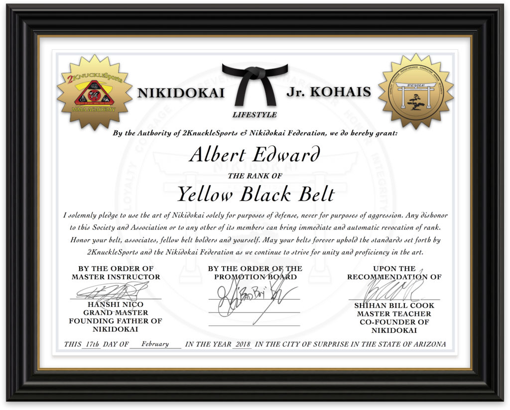 Albert Edward - Nikidokai Yellow Black Belt