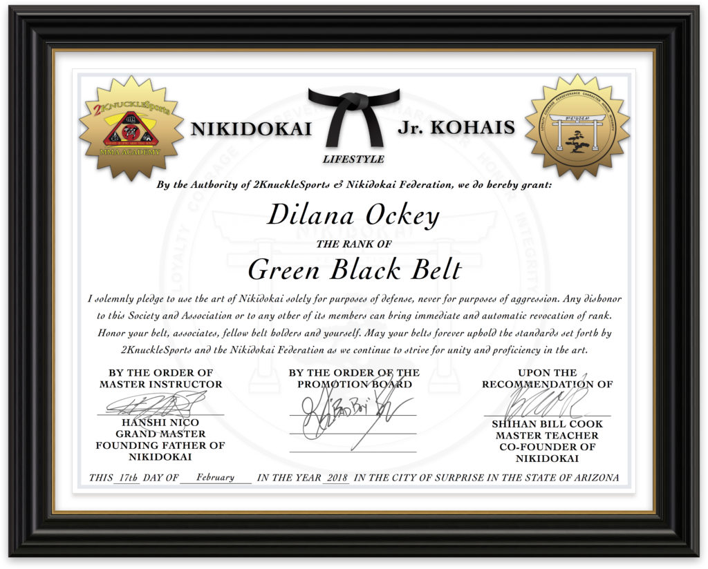 Dilana Ockey - Nikidokai Green Black Belt