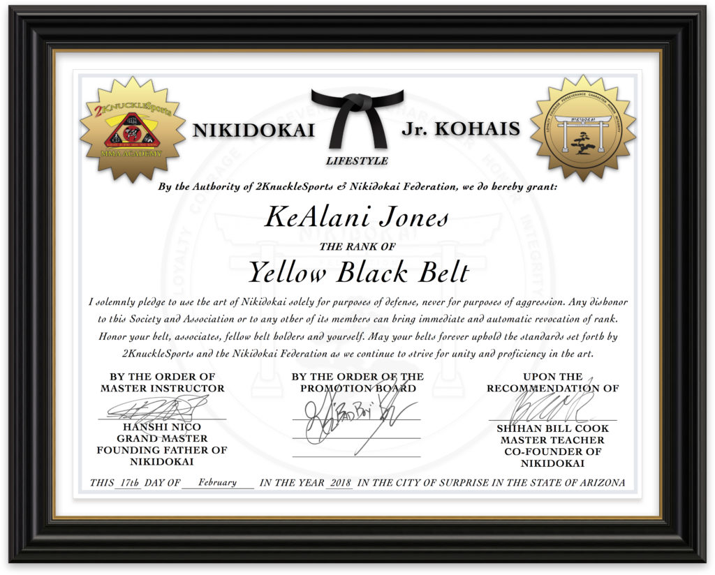 KeAlani Jones - Nikidokai Yellow Black Belt