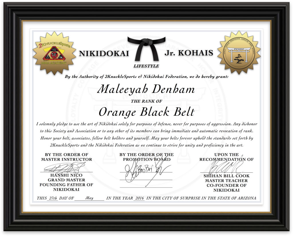 Maleeyah Denham - Nikidokai Orange Black Belt