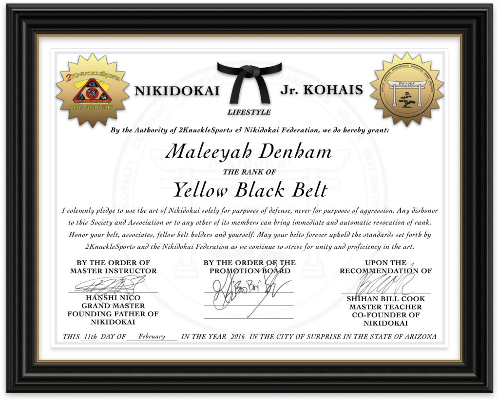 Maleeyah Denham - Nikidokai Yellow Black Belt