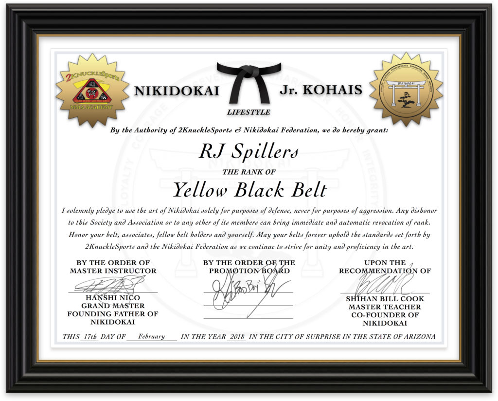 RJ Spillers - Nikidokai Yellow Black Belt
