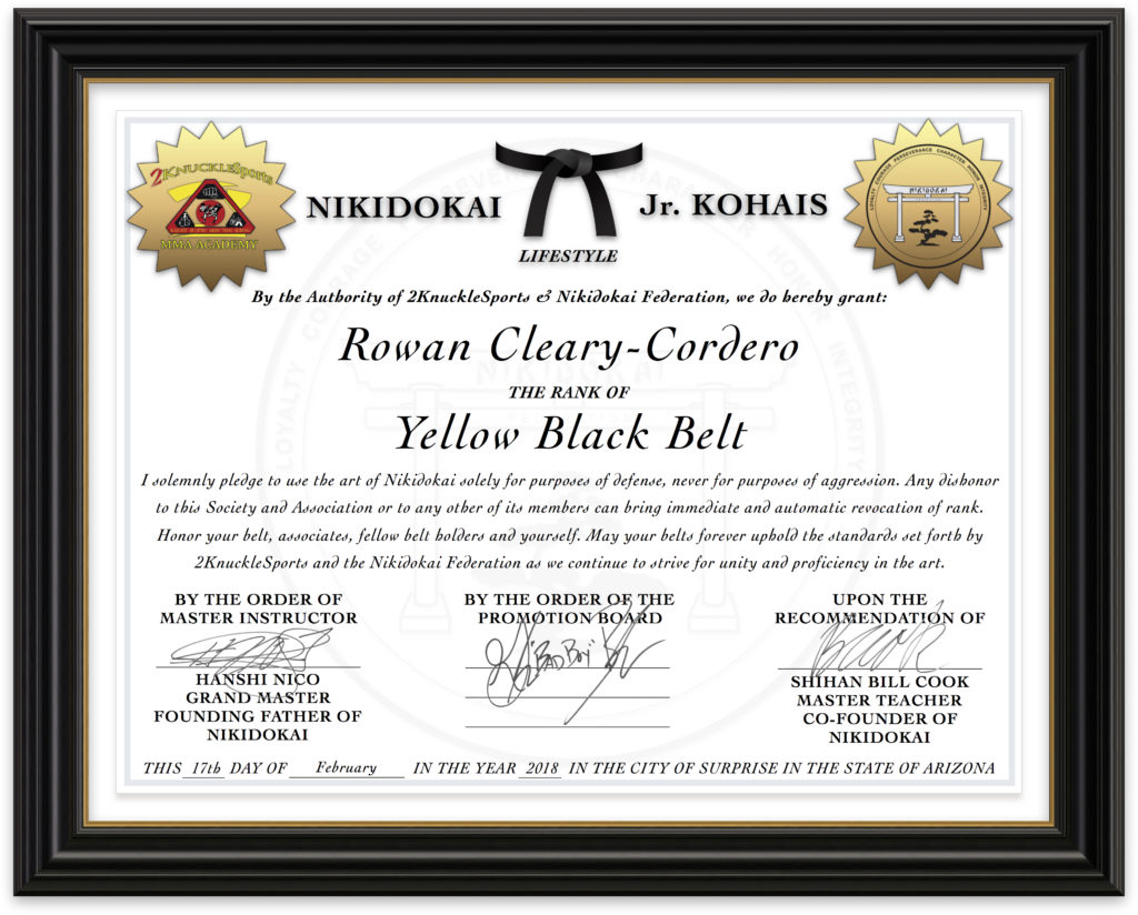 Rowan Cleary-Cordero - Nikidokai Yellow Black Belt