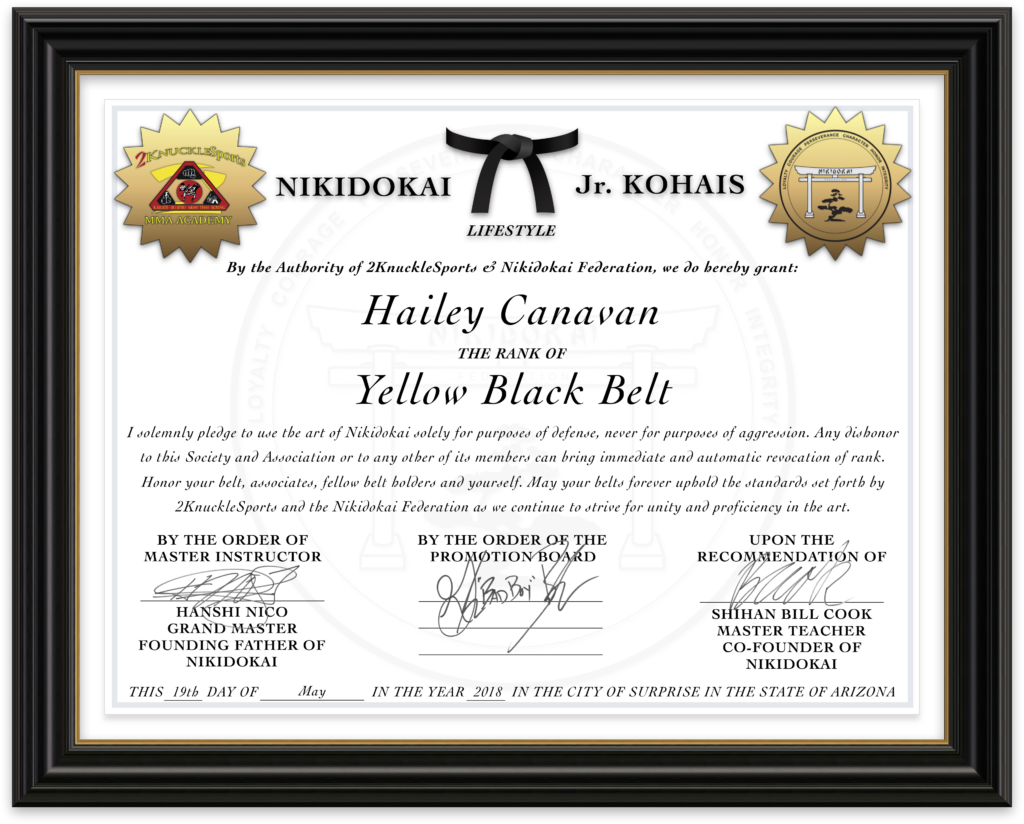 Hailey Canavan - Nikidokai Yellow Black Belt