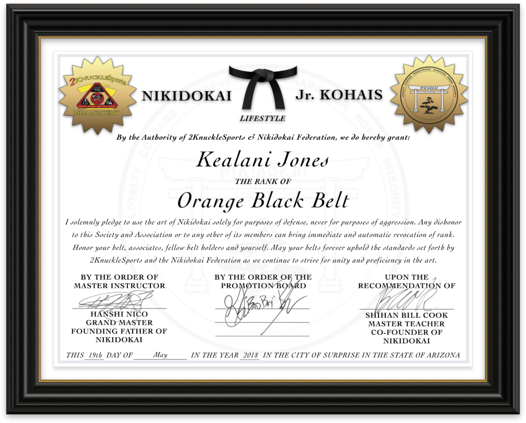 Kealani Jones - Nikidokai Orange Black Belt