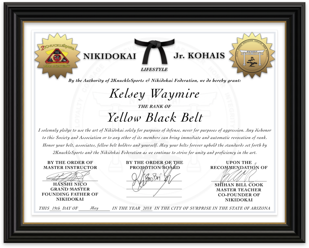 Kelsey Waymire - Nikidokai Yellow Black Belt