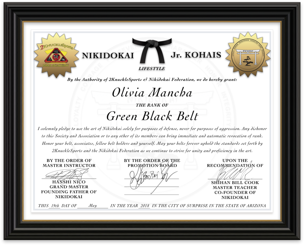 Olivia Mancha - Nikidokai Green Black Belt